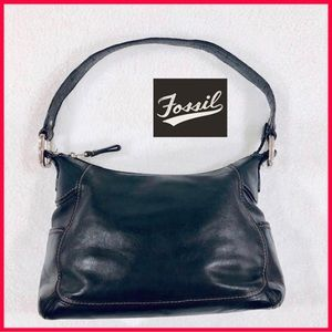 FOSSIL Black Small Leather Hobo Bag